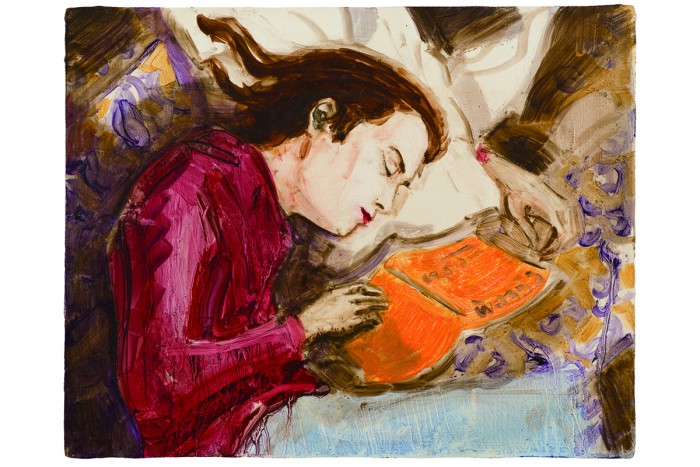 Kurt Sleeping, 1995 oil on board 27.9 × 35.6 cm Private Collection, New York  © Elizabeth Peyton; courtesy Sadie Coles HQ, London; Gladstone Gallery, New York and Brussels; neugerriemschneider, Berlin