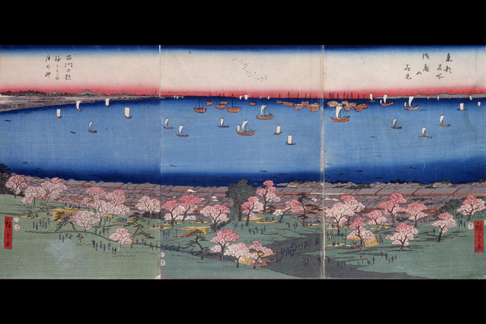 """Toto Meisho"" (Famous Views of the Eastern Capital) ""Gotenyama Cherry Blossoms, Shinagawa Station, Sodekaura, and Tsuki no Misaki""