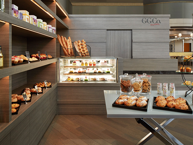 Fresh sandwiches, deli items, and pastry goods are available for takeout at the gourmet gift shop GG Co..