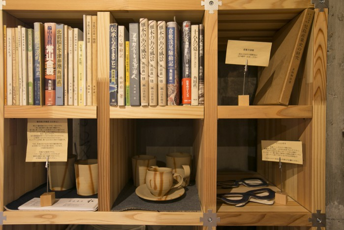 Corner featuring books about and miscellaneous items from Kurashiki