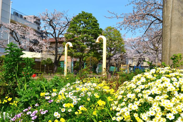 Kitahama Park, located alongside the Meguro River