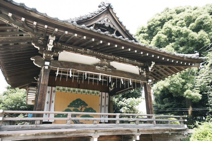 The kagura hall, where kagura (sacred Shinto music and dance) is presented at the annual festivals of Shinagawa Shrine.
