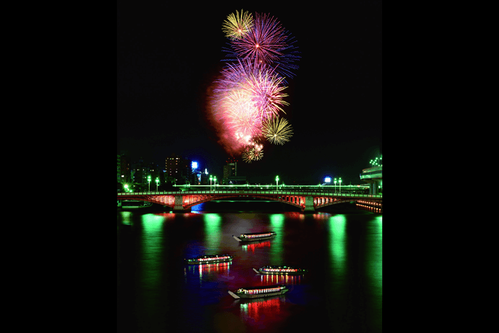 The Sumida River Fireworks seen from a pleasure boat is something special.