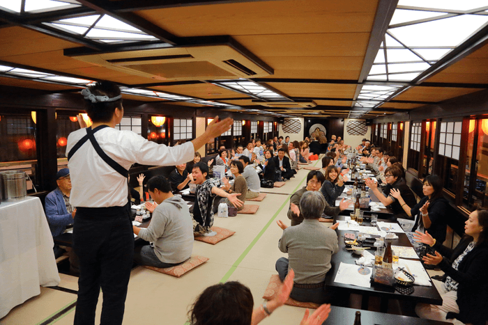 The sake and the food go down easy, and the boat is filled with excitement.